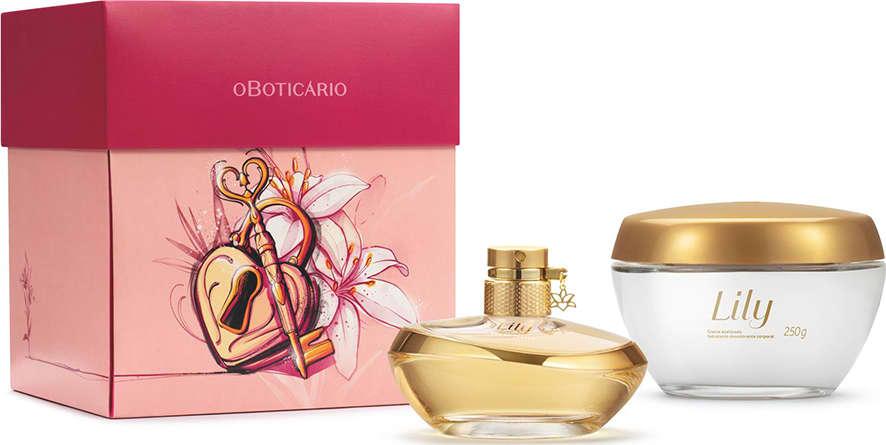 Kit Presente de Dia dos Namorados Lily: Eau de Parfum 75ml + Creme  Acetinado 250g + Caixa de Presente | Boticário