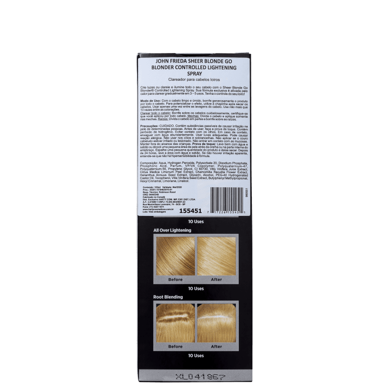 502d1bb186fbd John Frieda Sheer Blonde Go Blonder Controlled - Spray Clareador Termoativo  103ml
