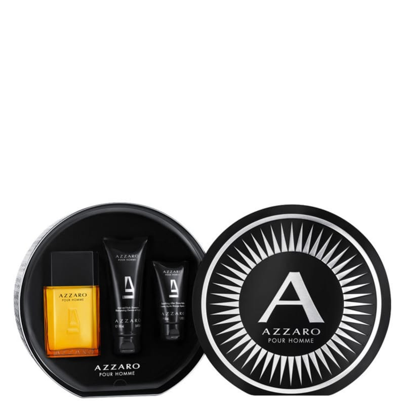 Conjunto Azzaro Pour Homme Full Masculino - Eau de Toilette 100ml + Shampoo 100ml + Pós-Barba 50ml