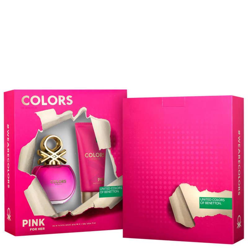 Conjunto Colors Pink Benetton Feminino - Eau de Toilette 80ml + Loção Corporal 75ml