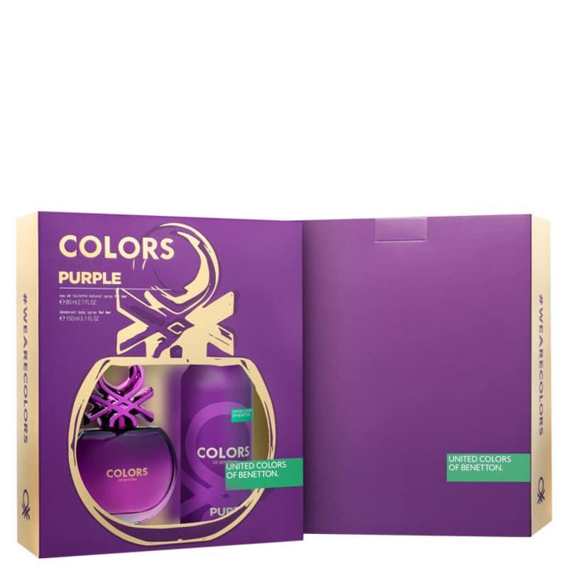 Conjunto Colors Purple Deo Benetton Feminino - Eau de Toilette 80ml + Loção Corporal 150ml