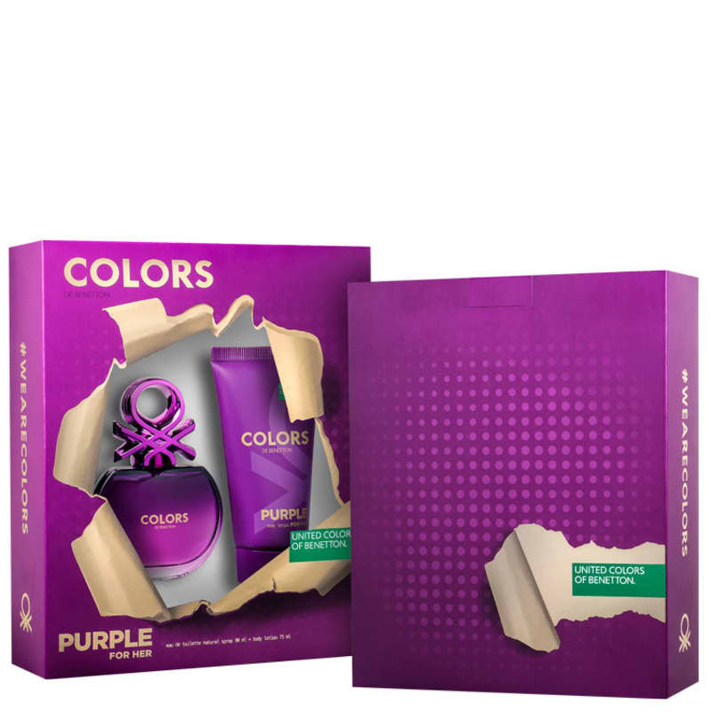 Conjunto Colors Purple Benetton Feminino - Eau de Toilette 80ml + Loção Corporal 75ml