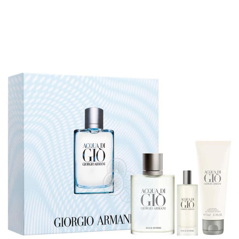 Conjunto Acqua di Giò Giorgio Armani Masculino - Eau de Toilette 100ml + Gel de Banho 75ml + Travel Size 15ml
