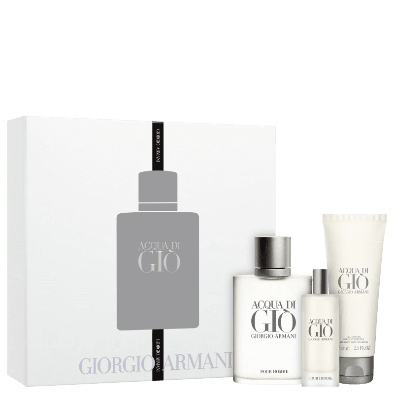 Conjunto Acqua di Giò Pour Homme Giorgio Armani Masculino - Eau de Toilette 100ml + Eau de Toilette 15 ml + Gel de Banho 75ml