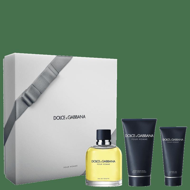 Conjunto Dolce & Gabbana Pour Homme Masculino - Eau de Toilette 125ml + Pós-Barba 100ml + Gel de Banho 50ml