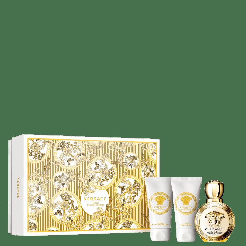 Conjunto Eros Pour Femme Versace Feminino - Eau de Parfum 50ml + Loção Corporal 50ml + Gel de Banho 50ml