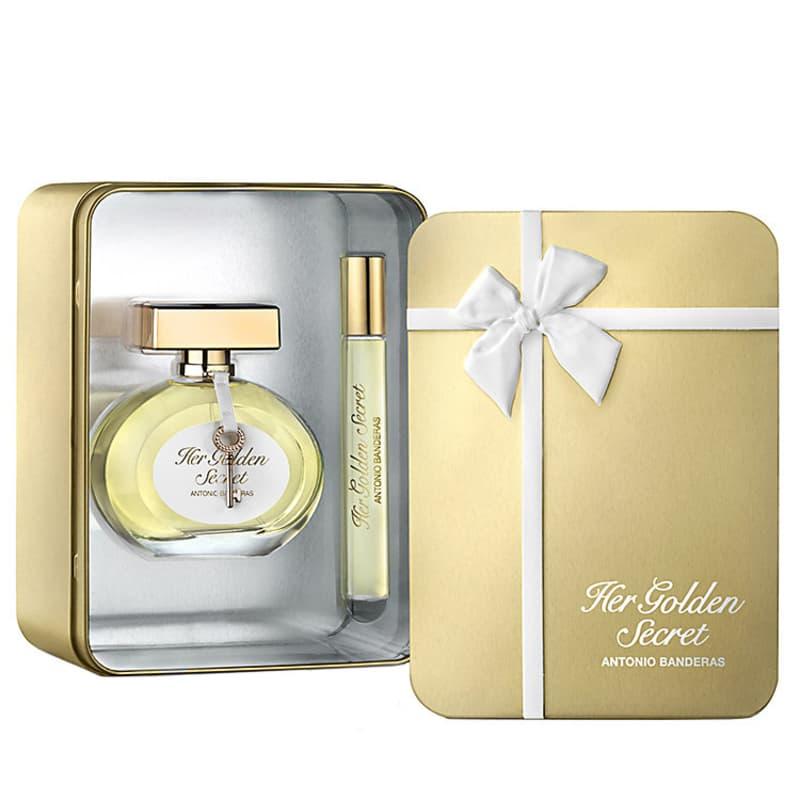 aaf831abc Conjunto Her Golden Secret Deluxe Metallic Antonio Banderas Feminino - Eau  de Toilette 80ml + Miniatura 10ml