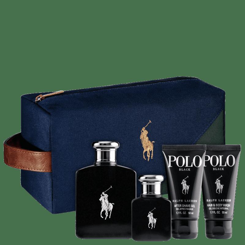 Conjunto Polo Black Ralph Lauren Masculino - Eau de Toilette 125ml + Eau de Toilette 40ml + Gel de Banho 50ml + Pós-Barba 50ml + Nécessaire