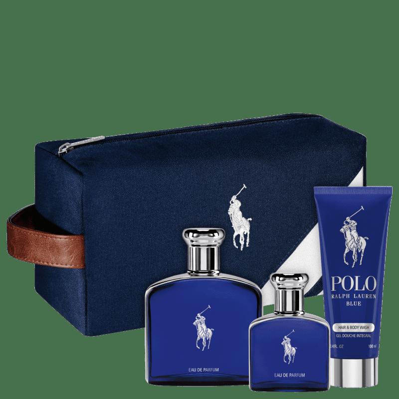Conjunto Polo Blue Ralph Lauren Masculino - Eau de Parfum 125ml + Eau de Parfum 40ml + Gel de Banho 100ml + Nécessaire