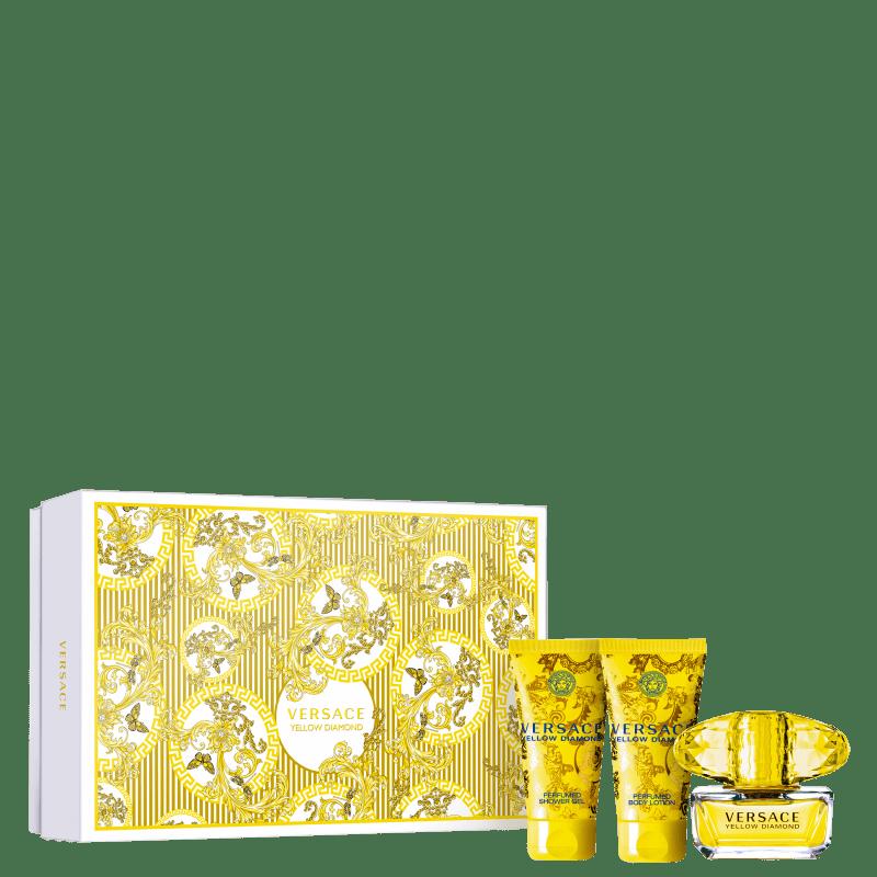 Conjunto Yellow Diamond Versace Feminino - Eau de Toilette 50ml + Loção Corporal 50ml + Gel de Banho 50ml