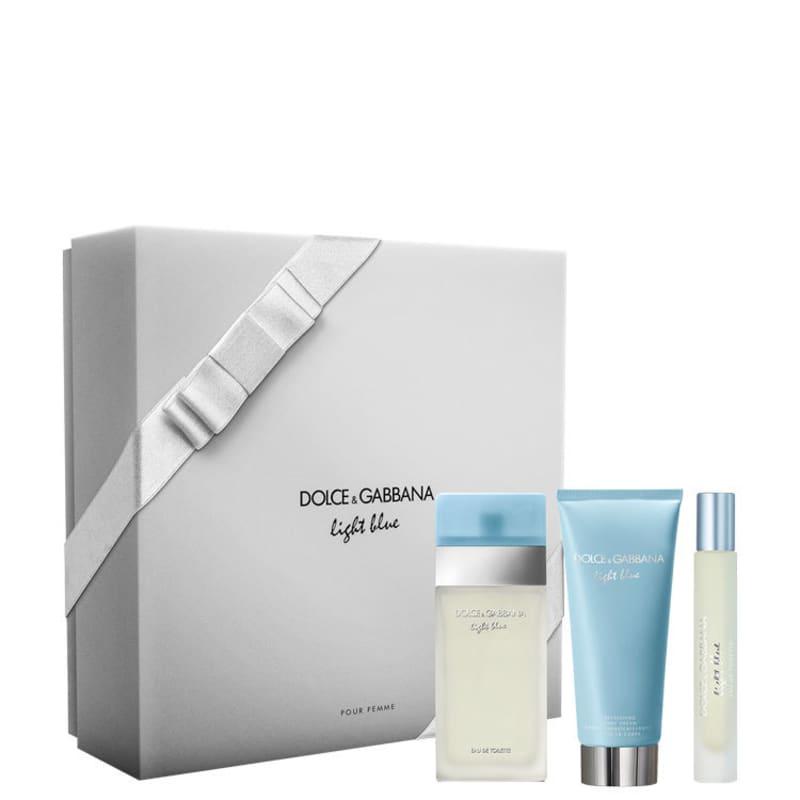 Conjunto Light Blue Dolce & Gabbana Feminino - Eau de Toilette 50ml + Travel Size 7,4ml + Loção Corporal 50ml