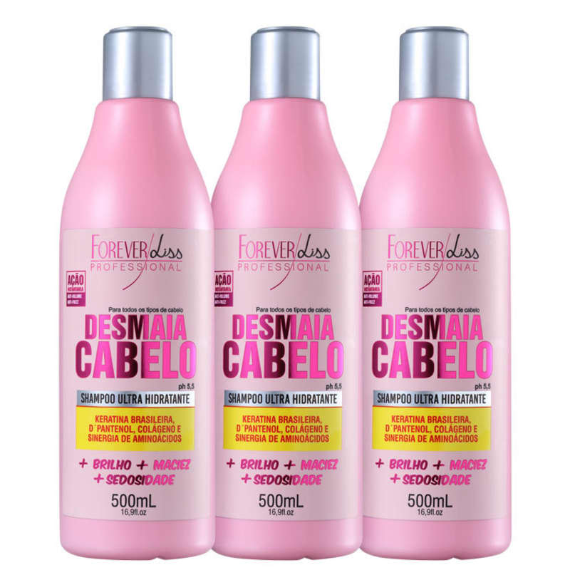 Forever Liss Professional Desmaia Cabelo - Shampoo 3x500ml