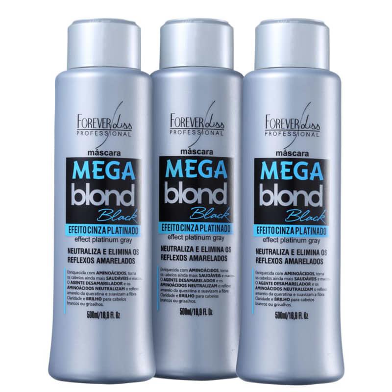 Forever Liss Professional Mega Blond Black - Máscara Matizadora 3x500ml