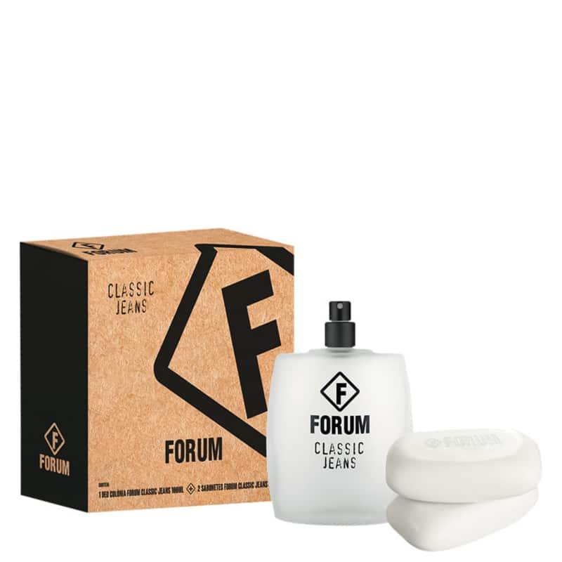 Conjunto Classic Jeans Forum Unissex - Deo Colônia 100ml + Sabonetes 2x90g