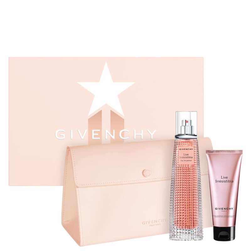 Conjunto Live Irrésistible Givenchy Feminino - Eau de Parfum 75ml + Loção Corporal 75ml + Nécessaire