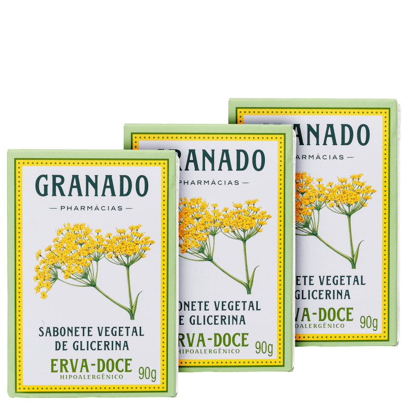 Granado Vegetal de Glicerina e Erva-Doce - Sabonete em Barra 3x90g