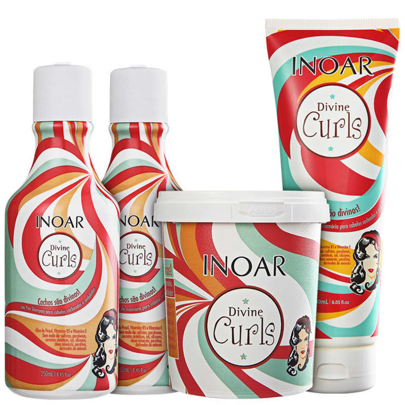Kit Divine Curls (Shampoo, Condicionador, Máscara e Gel)