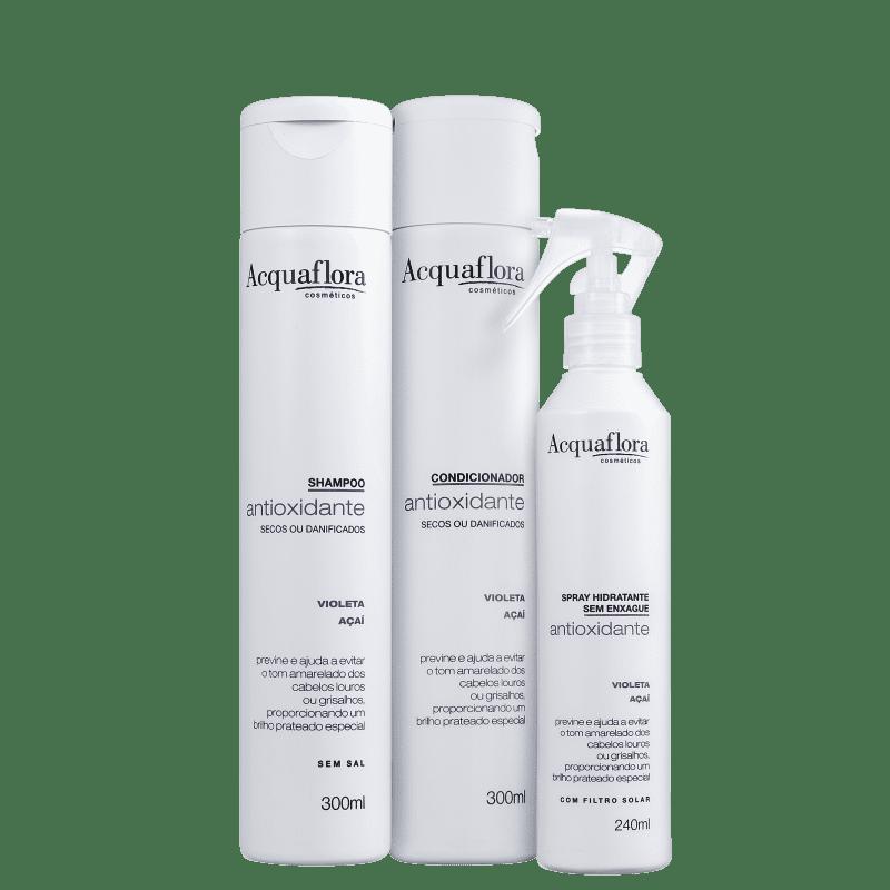 Kit Acquaflora Antioxidante Secos ou Danificados Leave-In (3 Produtos)