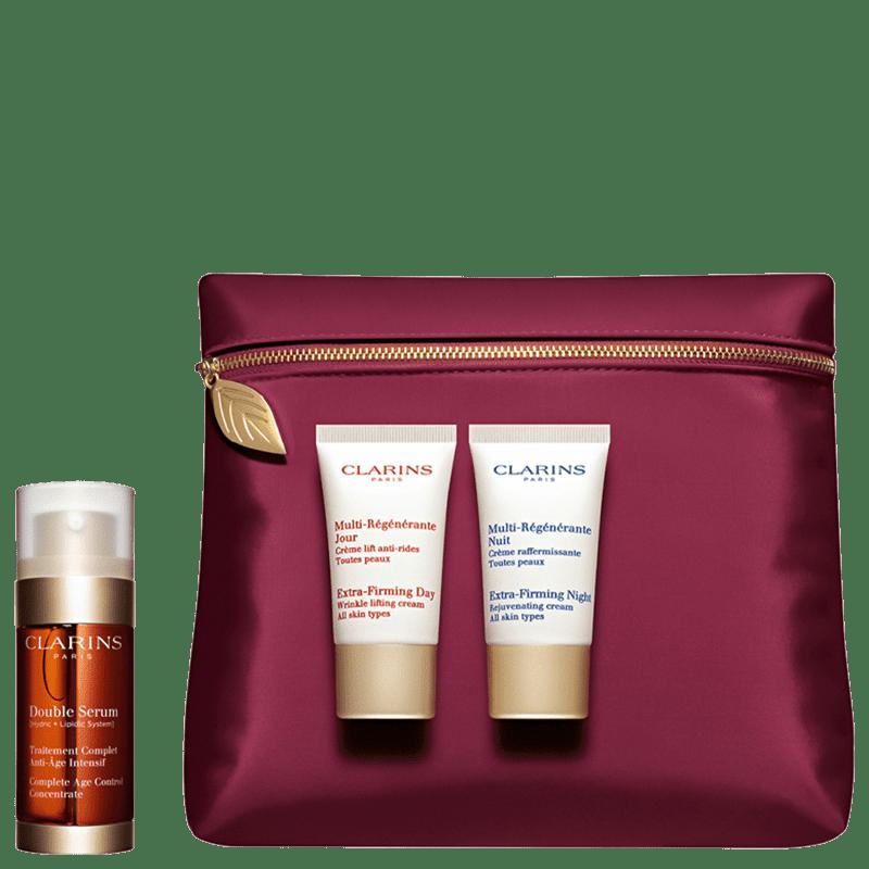 Kit Clarins Double Serum Pack (3 Produtos + Nécessaire)