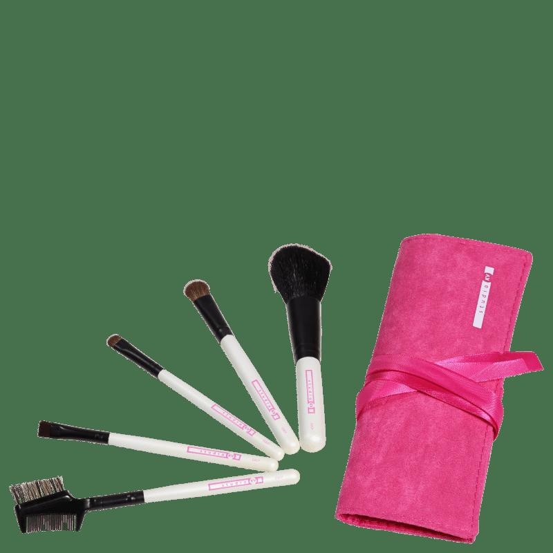 Kit de Pincéis Studio KV Sweet Pink Rosa (5 produtos)