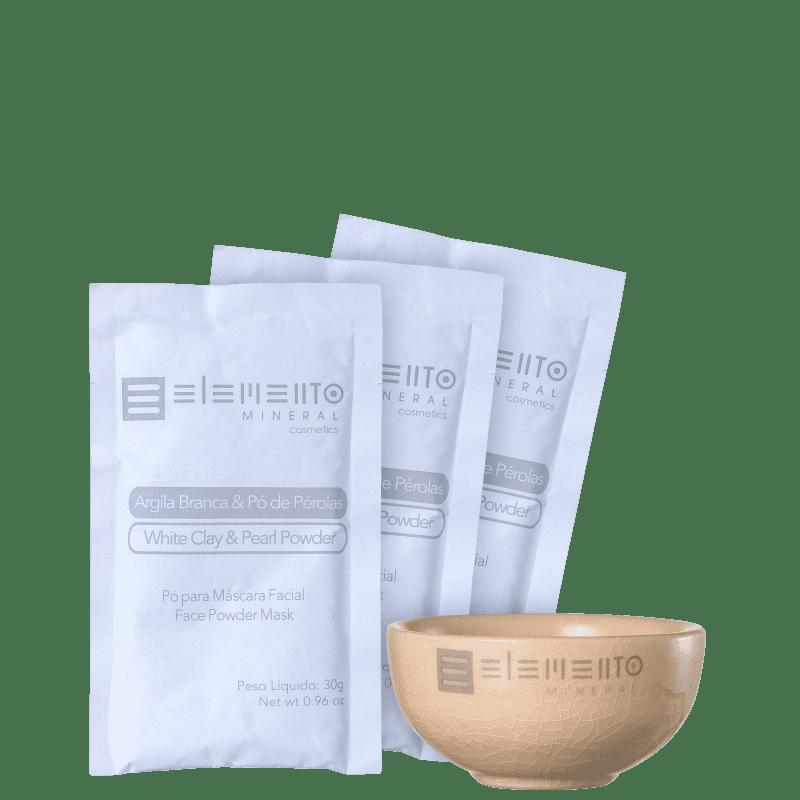 Kit Elemento Mineral Argila Branca & Pó de Pérolas (4 produtos)
