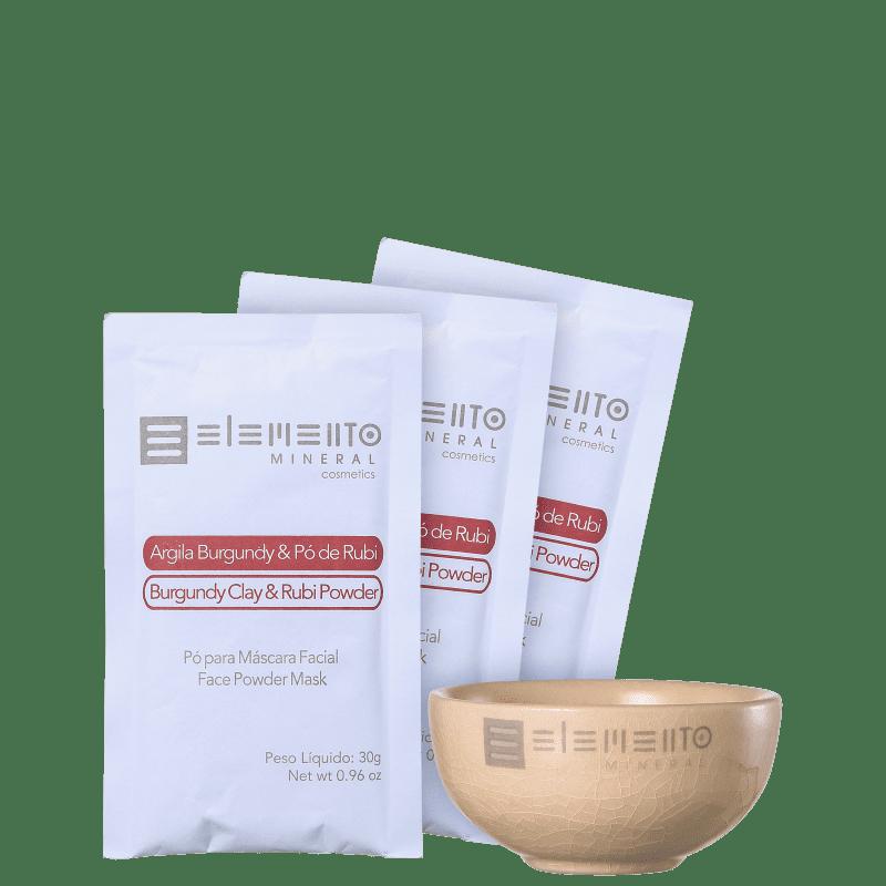 Kit Elemento Mineral Argila Burgundy & Pó de Rubi (4 produtos)