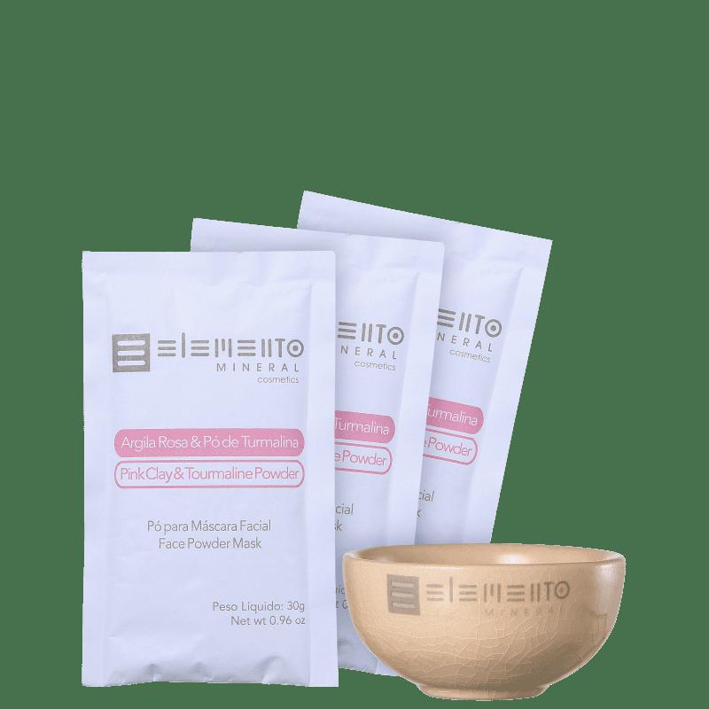 Kit Elemento Mineral Argila Rosa & Pó de Turmalina  (4 produtos)