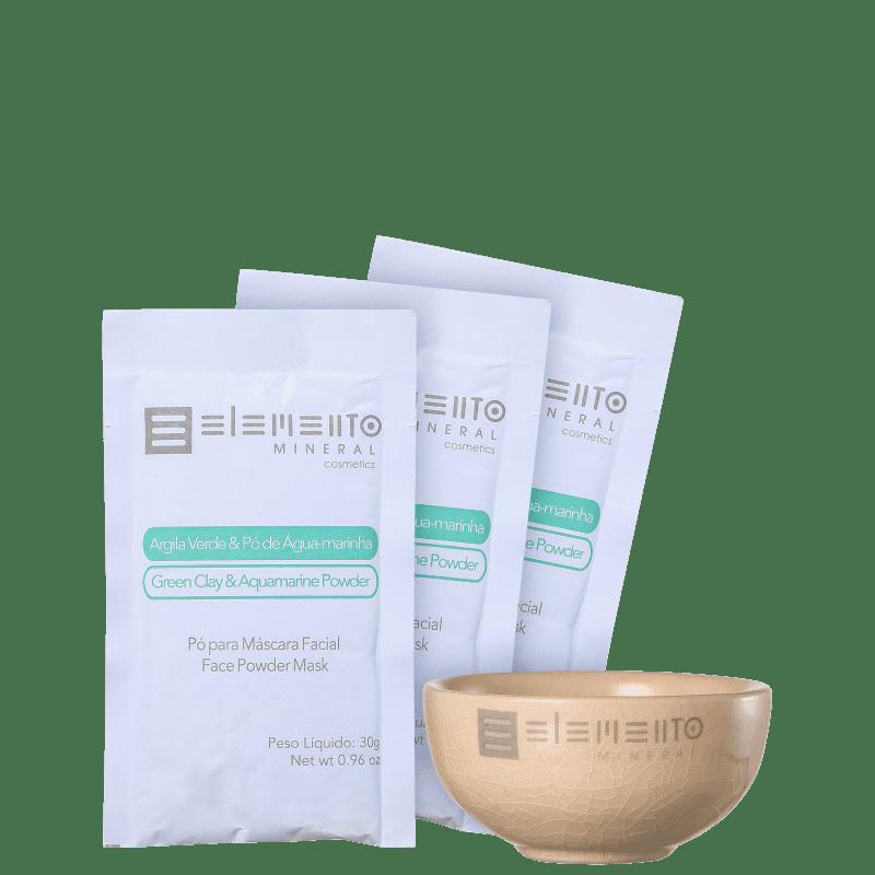 Kit Elemento Mineral Argila Verde & Pó de Aguamarinha (4 produtos)