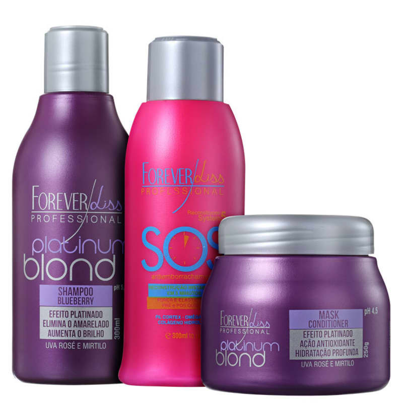 Kit Forever Liss Professional Platinum Blond SOS (3 Produtos)