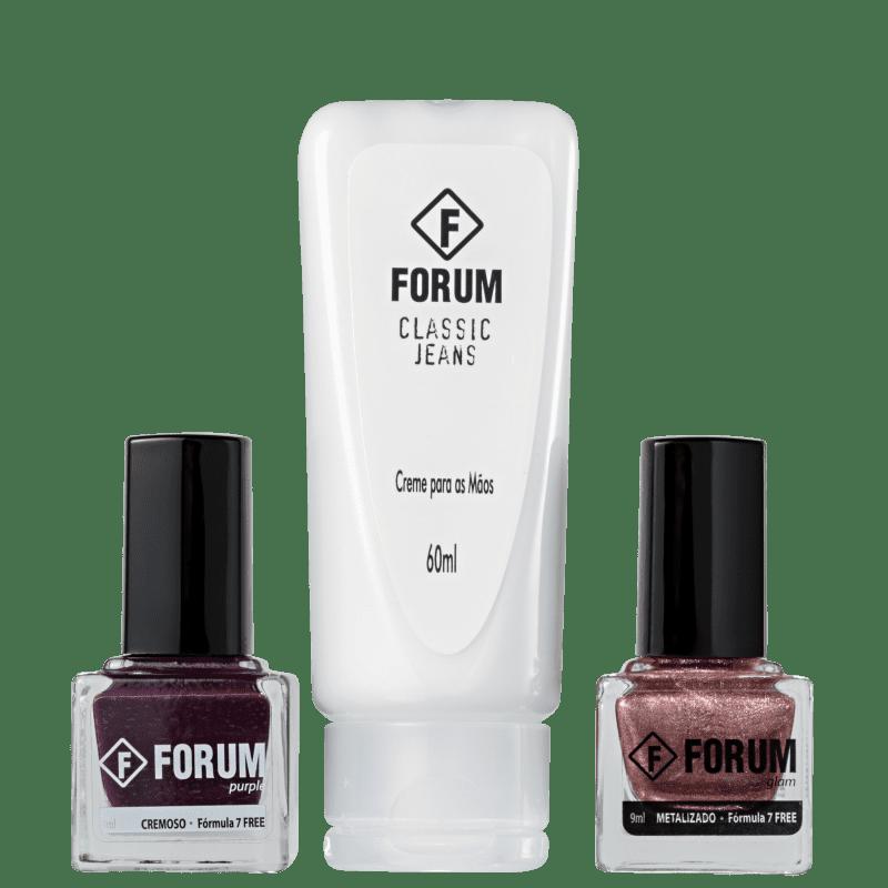 Kit Forum Purple, Glam e Classic Jeans de Esmaltes (3 produtos)