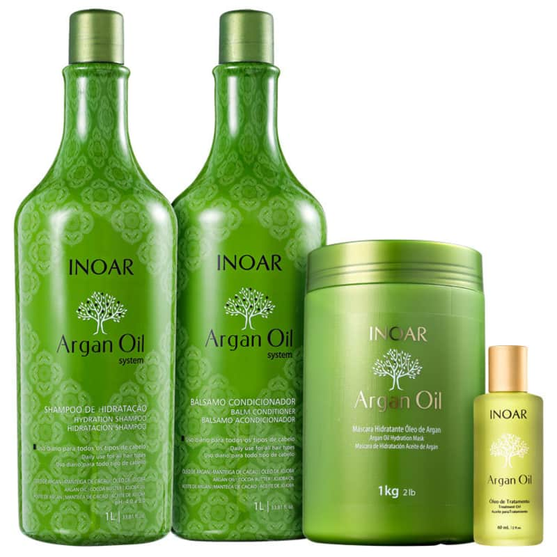 Kit Inoar Argan Oil System Salon Full (4 Produtos)