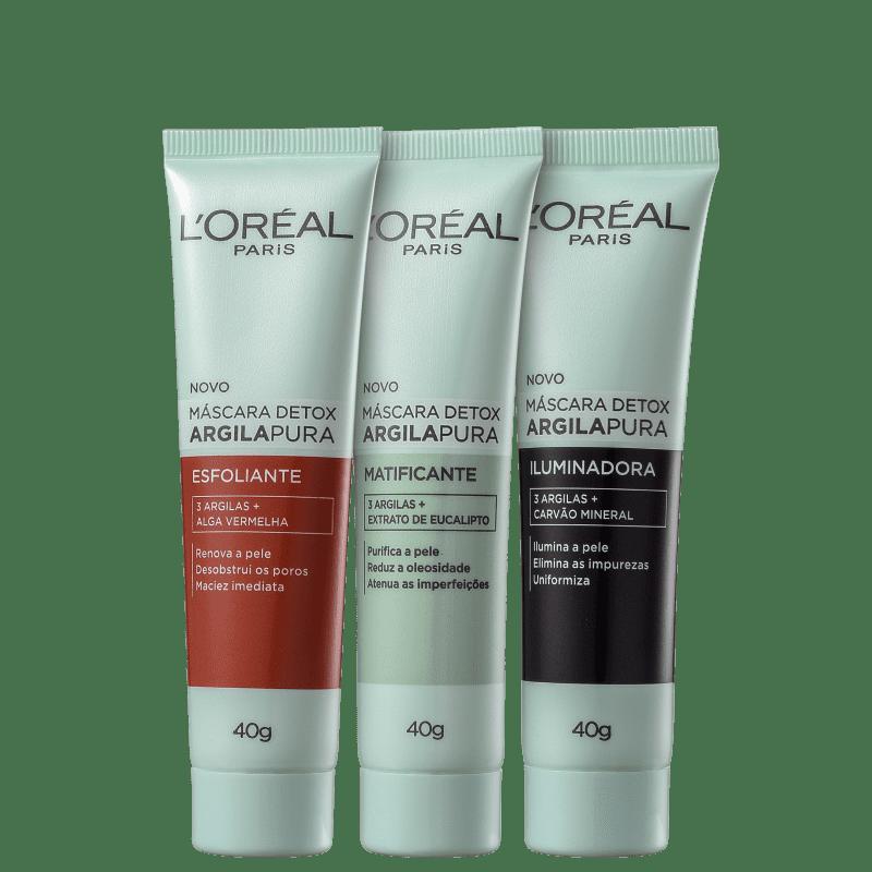Kit L'Oréal Paris Máscara Detox Argila Pura Total (3 Produtos)