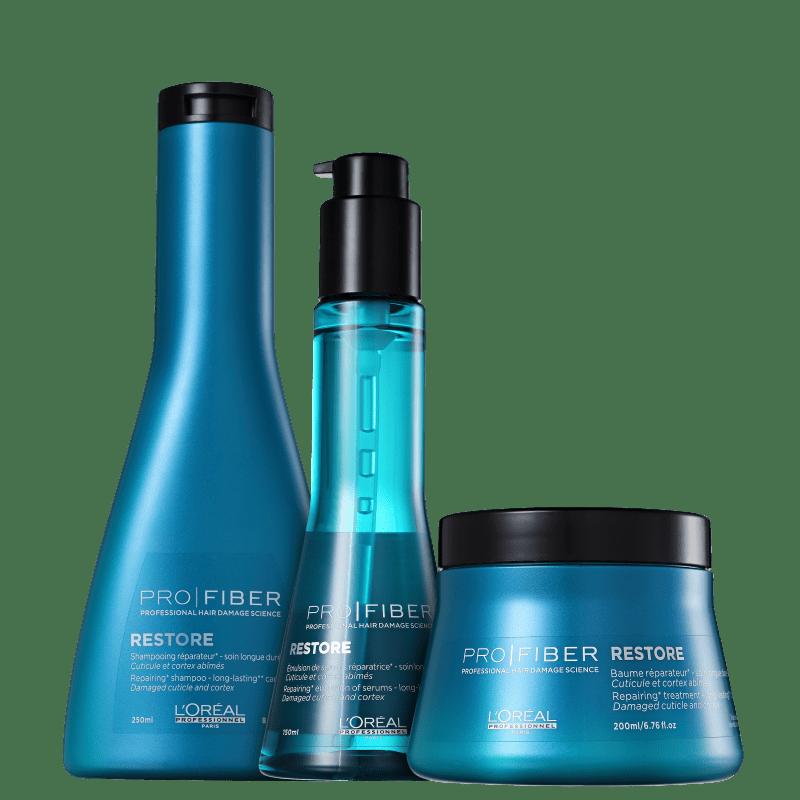 Kit L'Oréal Professionnel Pro Fiber Restore Reconstrução Total (3 Produtos)