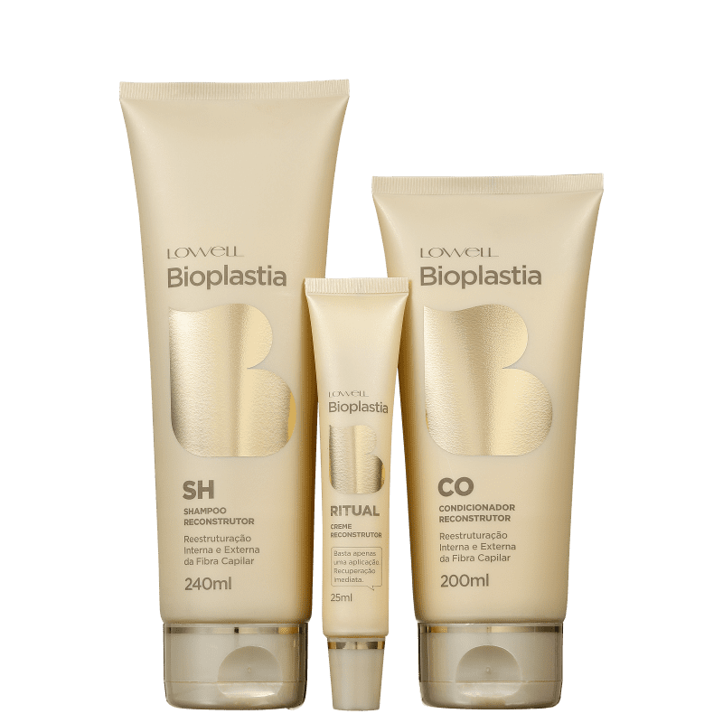 Kit Lowell Bioplastia Capilar Bioplastia Home Care (3 Produtos)