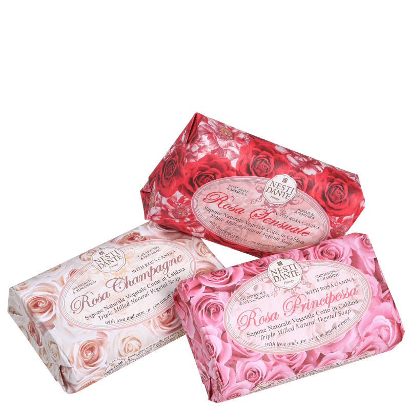 Kit Nesti Dante Collection Le Rose - Sabonetes em Barra 3x150g
