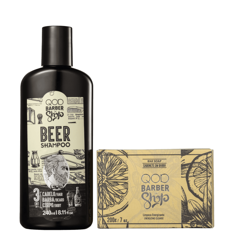 Kit QOD Barber Shop Hair & Beard Essentials Pack (2 Produtos)