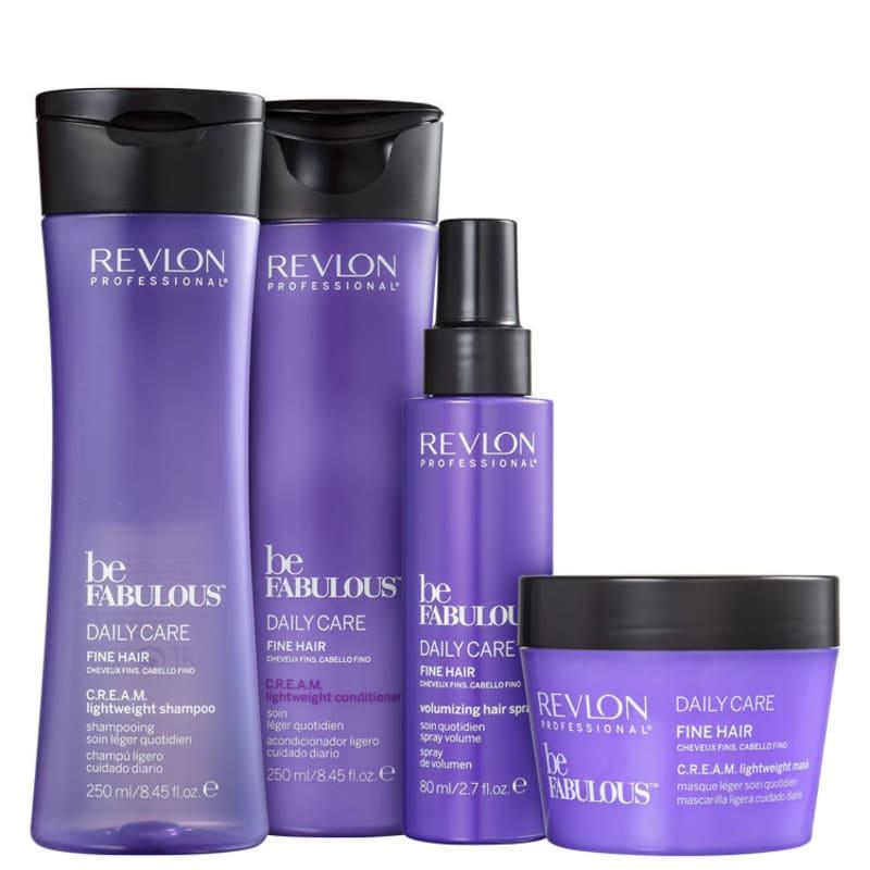 Kit Revlon Professional Be Fabulous C.R.E.A.M. Lightweight Spray (4 Produtos)