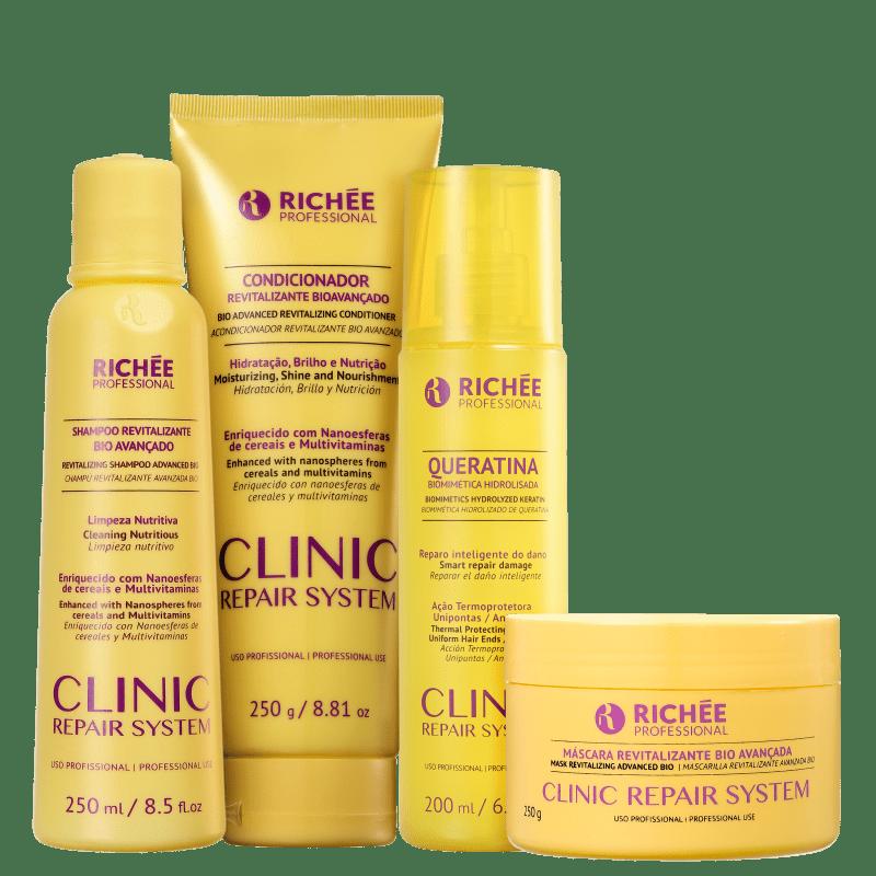 Kit Richée Professional Clinic Repair System Hidratação e Força (4 Produtos)