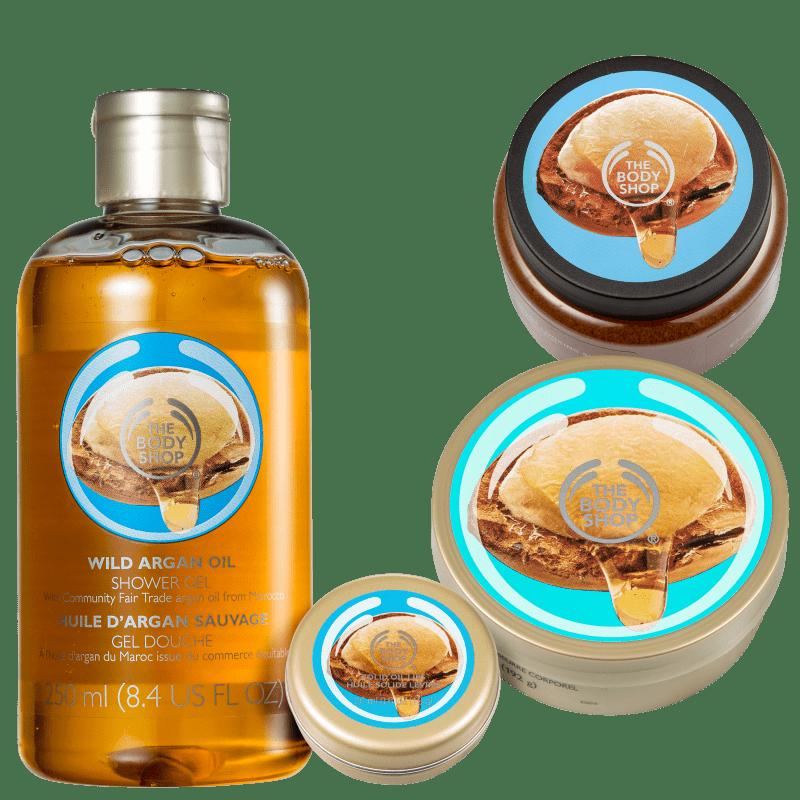 Kit The Body Shop Wild Argan Oil Hidratação Profunda (4 Produtos)