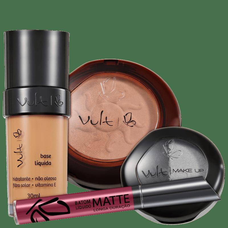 Kit Vult Make Up 04 Marrom Duo Soleil Matte (4 produtos)