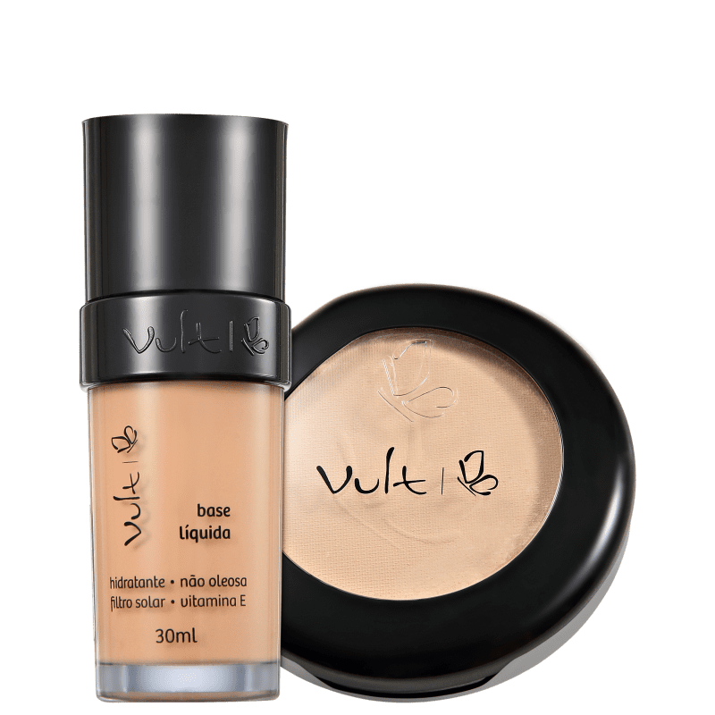 Kit Vult Make Up Base Pó 02 Bege Rosa (2 produtos)