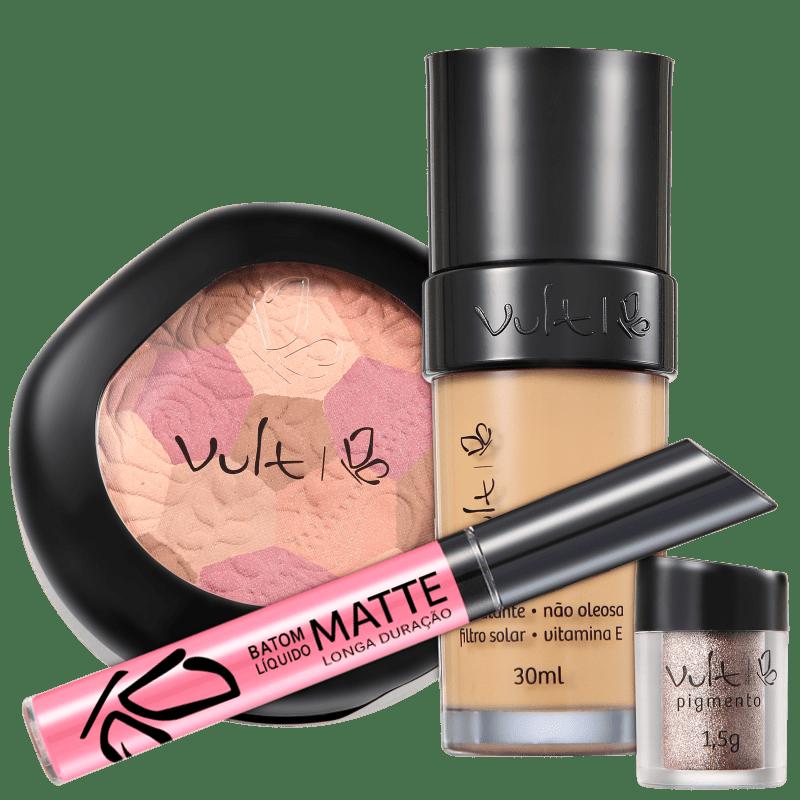 Kit Vult Make Up com Mosaico e Pigmento 03 Bege (4 produtos)
