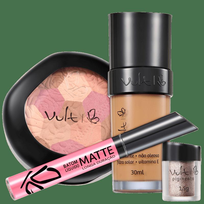 Kit Vult Make Up com Mosaico e Pigmento 04 Marrom (4 produtos)