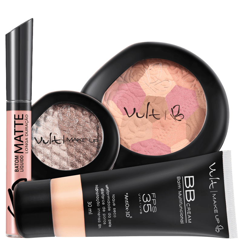Kit Vult Make Up Multifuncional Baked Rosa FPS 35 (4 produtos)