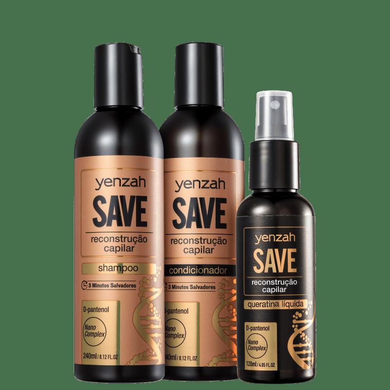 Kit Yenzah Save Reconstrução Capilar Rescue (3 Produtos)