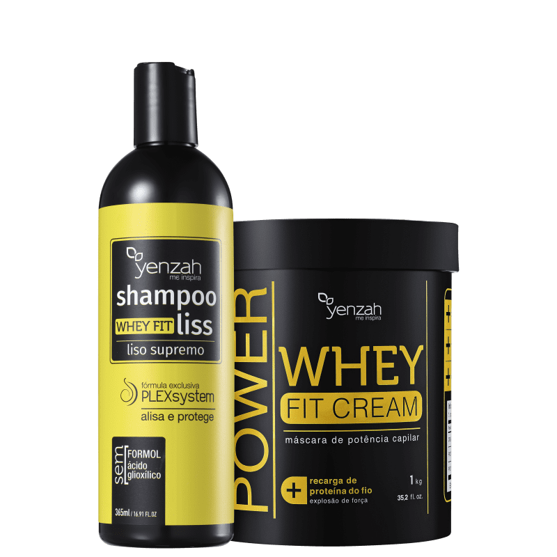 Kit Yenzah Power Whey Fit Cream Liso Supremo Tratado (2 Produtos)