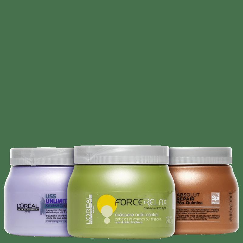 Kit L'Oréal Professionnel Cronograma Capilar Liso Intenso (3 Produtos)