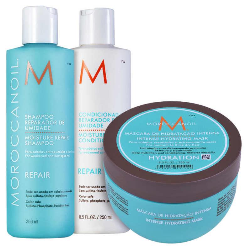 Kit Moroccanoil Repair Hydrating Mask (3 Produtos)