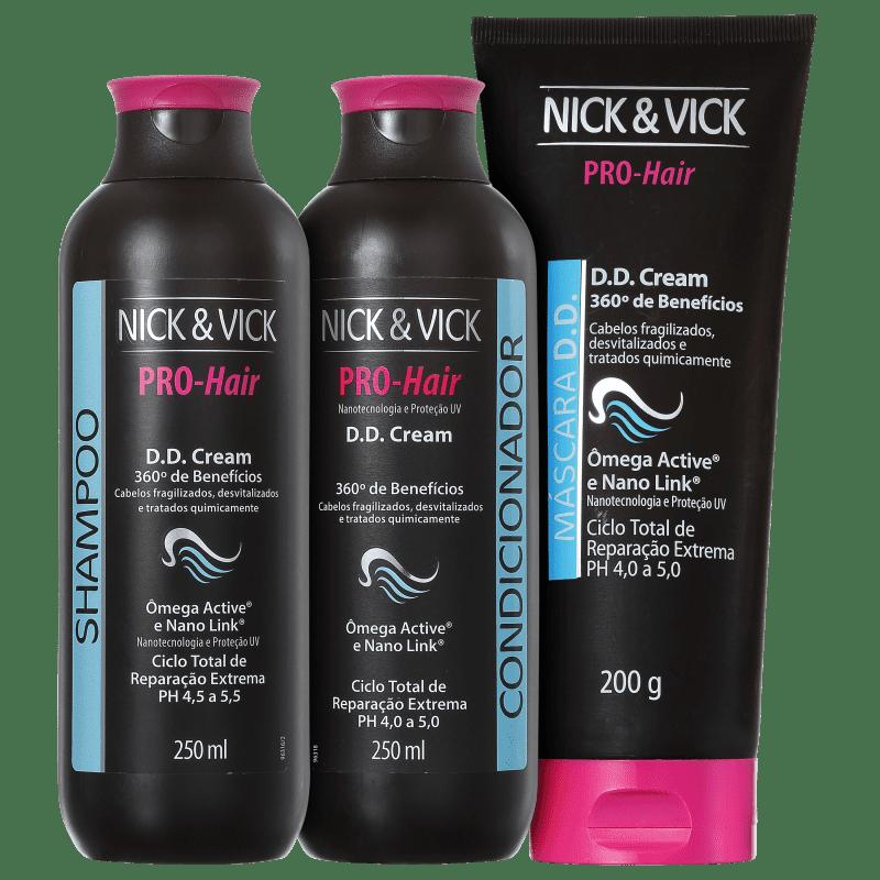 Kit Nick & Vick PRO-Hair D.D. Cream 360º Tratamento Completo (3 Produtos)