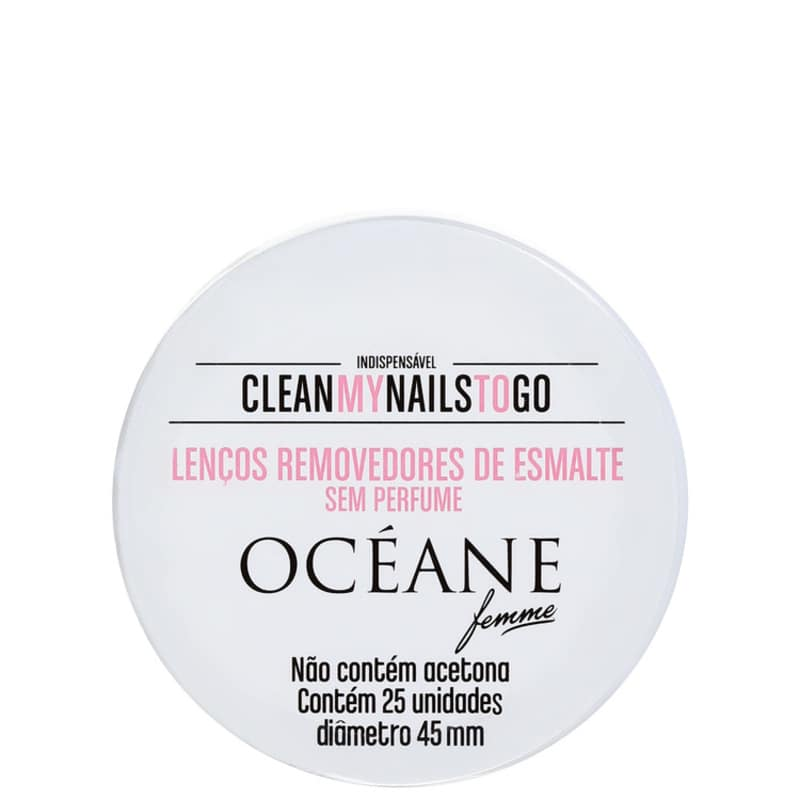 Océane Clean My Nails To Go Sem Perfume - Lenço Removedor de Esmalte (25 unidades)